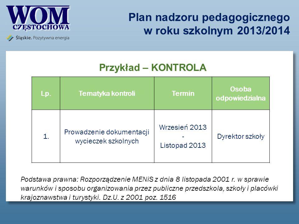 Plan nadzoru pedagogicznego w roku szkolnym 2013/2014 Przykład – KONTROLA Lp.Tematyka kontroliTermin Osoba odpowiedzialna 1. Prowadzenie dokumentacji