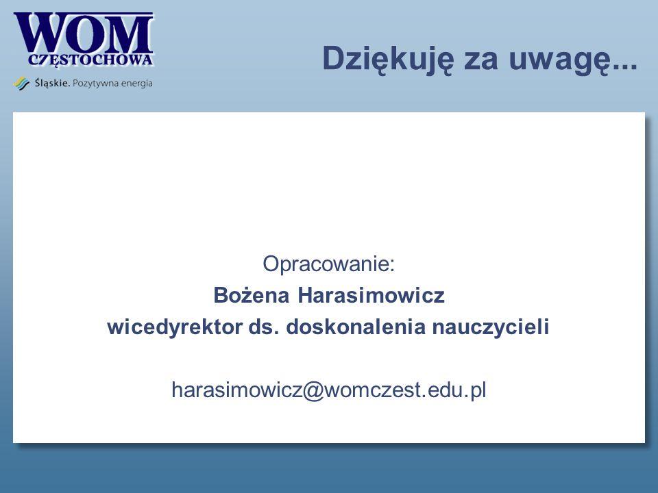 Dziękuję za uwagę... Opracowanie: Bożena Harasimowicz wicedyrektor ds. doskonalenia nauczycieli harasimowicz@womczest.edu.pl