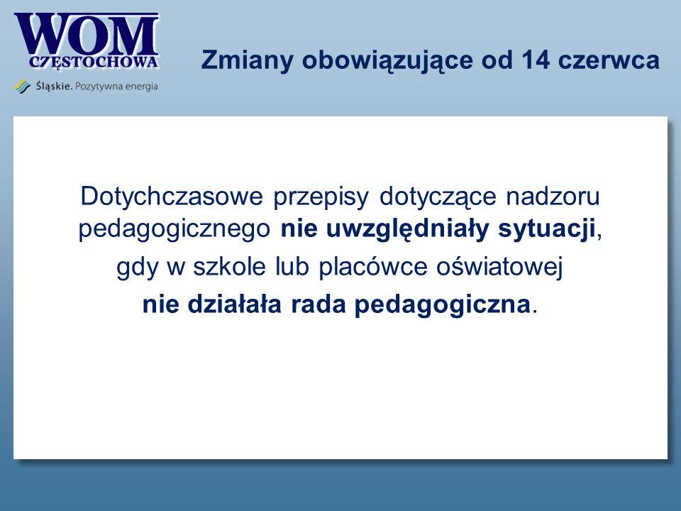 Zmiany obowiązujące od 14 czerwca Dotychczasowe przepisy dotyczące nadzoru pedagogicznego nie uwzględniały sytuacji, gdy w szkole lub placówce oświato