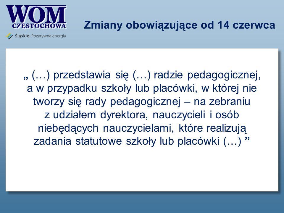 Zmiany obowiązujące od 14 czerwca (…) przedstawia się (…) radzie pedagogicznej, a w przypadku szkoły lub placówki, w której nie tworzy się rady pedago