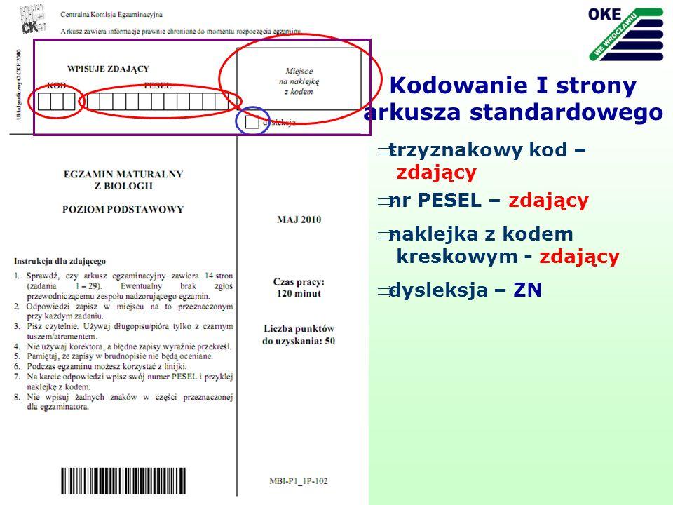 trzyznakowy kod – zdający Kodowanie I strony arkusza standardowego nr PESEL – zdający dysleksja – ZN naklejka z kodem kreskowym - zdający