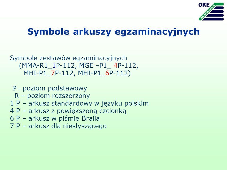 Symbole arkuszy egzaminacyjnych Symbole zestawów egzaminacyjnych (MMA-R1_1P-112, MGE –P1_ 4P-112, MHI-P1_7P-112, MHI-P1_6P-112) P – poziom podstawowy