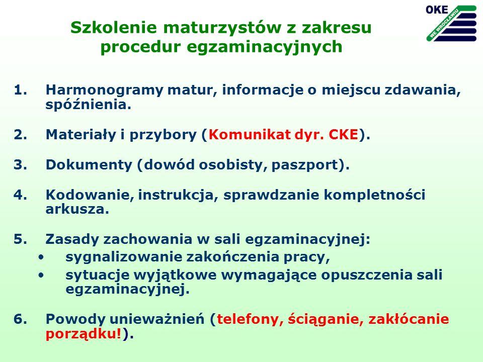 Szkolenie maturzystów z zakresu procedur egzaminacyjnych 1.Harmonogramy matur, informacje o miejscu zdawania, spóźnienia. 2.Materiały i przybory (Komu