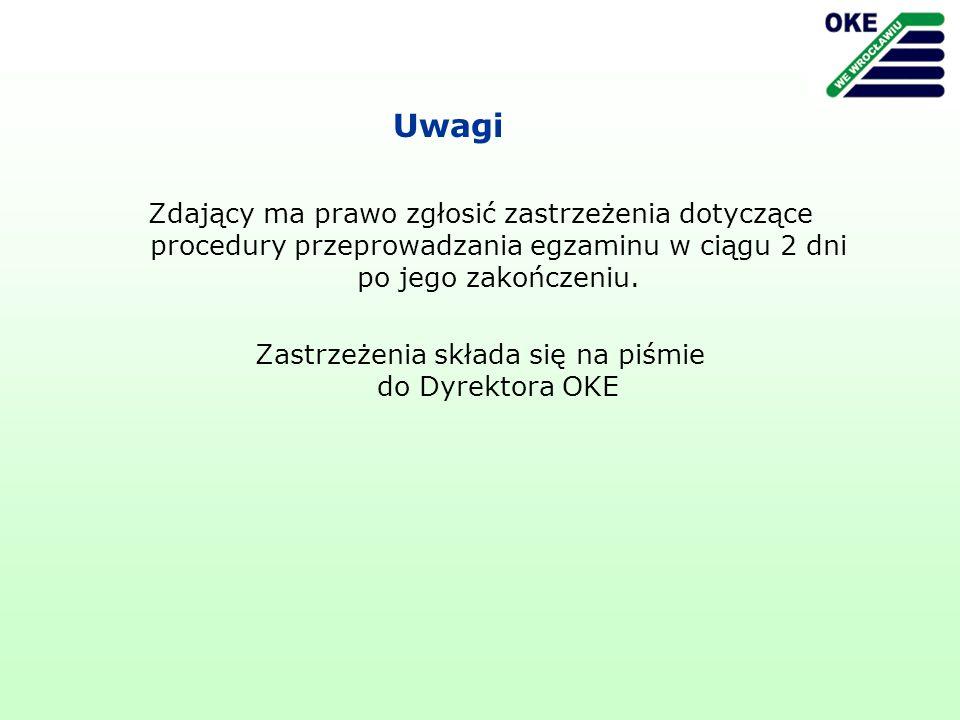 Uwagi Zdający ma prawo zgłosić zastrzeżenia dotyczące procedury przeprowadzania egzaminu w ciągu 2 dni po jego zakończeniu. Zastrzeżenia składa się na