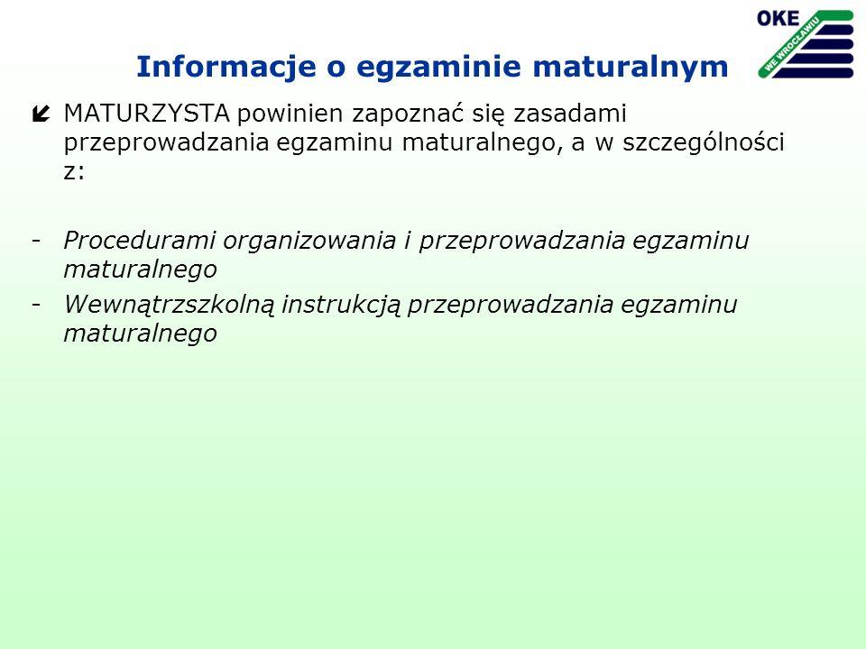 Informacje o egzaminie maturalnym íMATURZYSTA powinien zapoznać się zasadami przeprowadzania egzaminu maturalnego, a w szczególności z: -Procedurami o