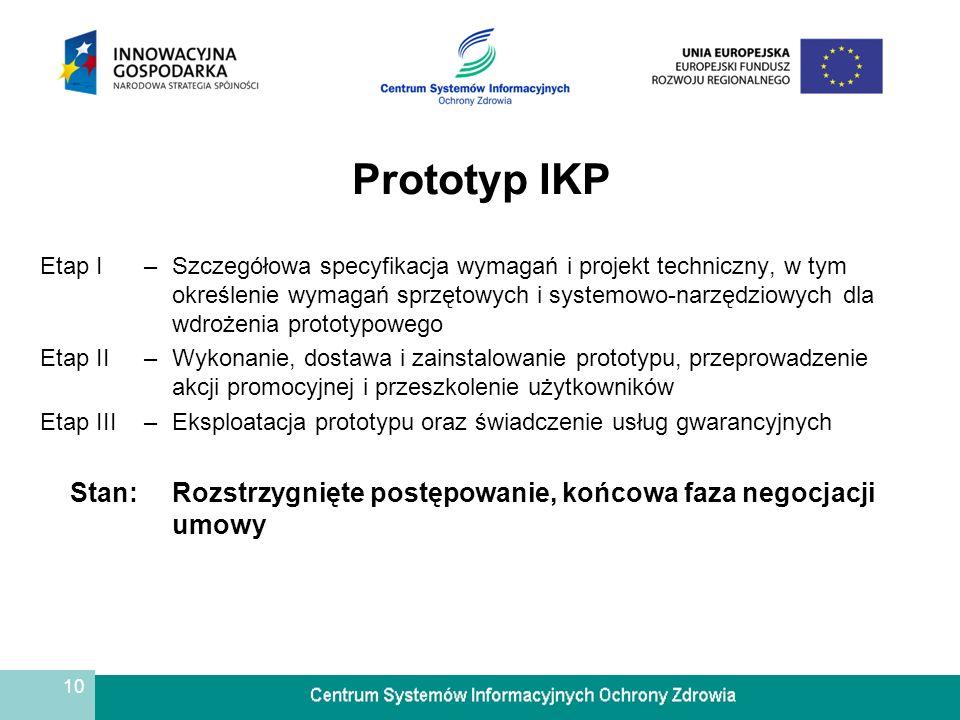 10 Prototyp IKP Etap I–Szczegółowa specyfikacja wymagań i projekt techniczny, w tym określenie wymagań sprzętowych i systemowo-narzędziowych dla wdroż