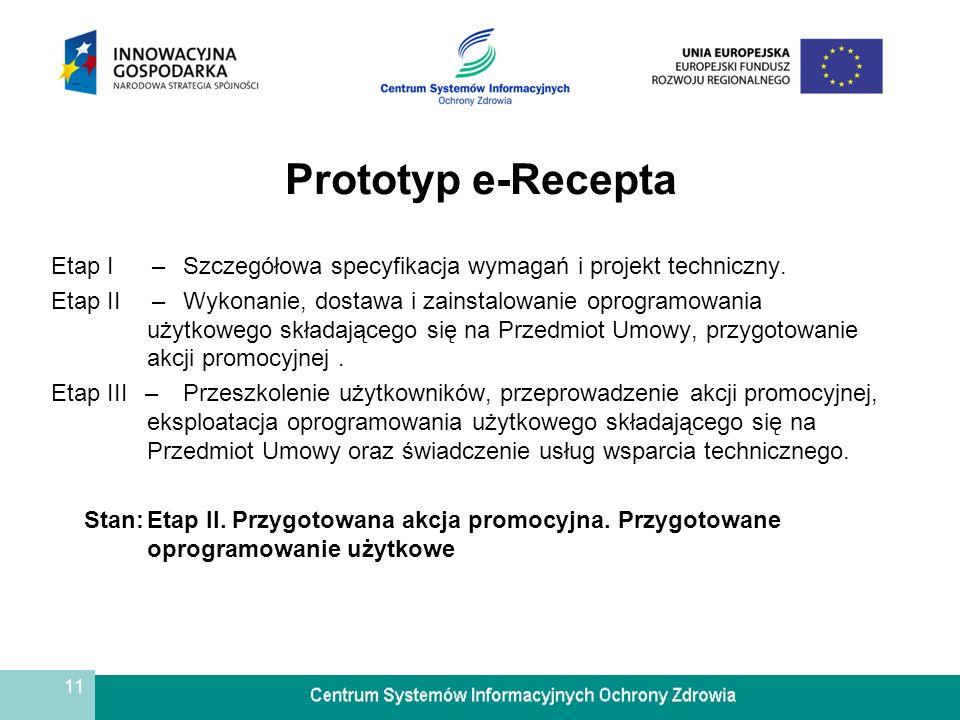 11 Prototyp e-Recepta Etap I –Szczegółowa specyfikacja wymagań i projekt techniczny. Etap II –Wykonanie, dostawa i zainstalowanie oprogramowania użytk