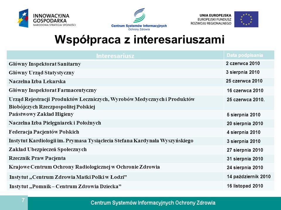 7 Współpraca z interesariuszami Interesariusz Data podpisania Główny Inspektorat Sanitarny 2 czerwca 2010 Główny Urząd Statystyczny 3 sierpnia 2010 Na