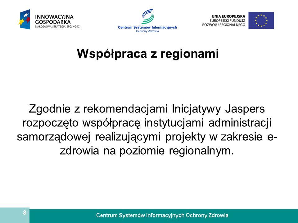 8 Współpraca z regionami Zgodnie z rekomendacjami Inicjatywy Jaspers rozpoczęto współpracę instytucjami administracji samorządowej realizującymi proje