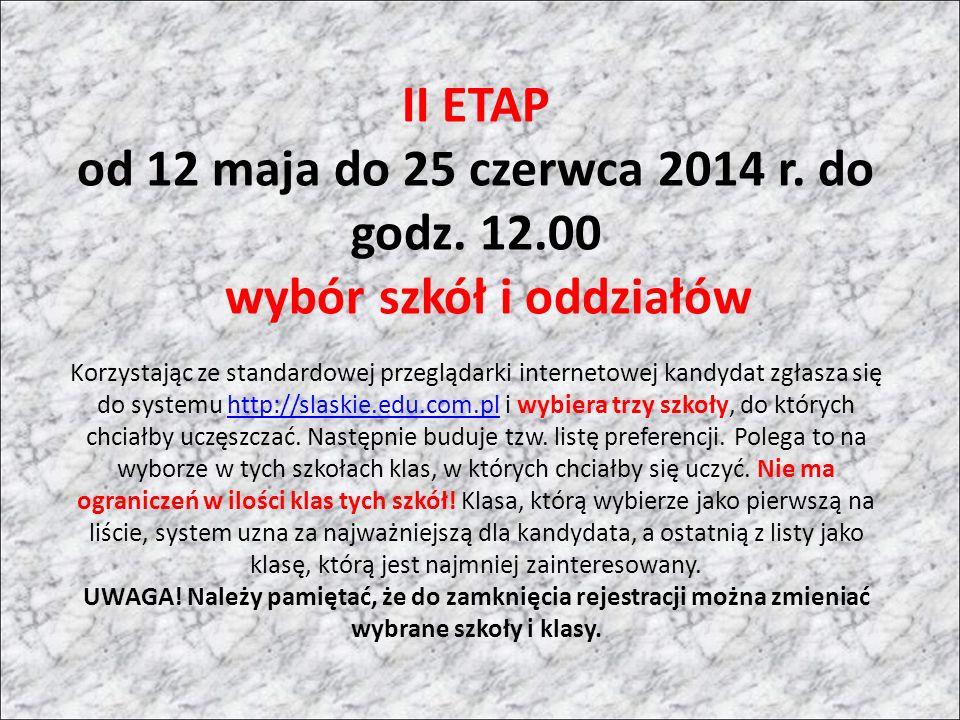 II ETAP od 12 maja do 25 czerwca 2014 r. do godz.