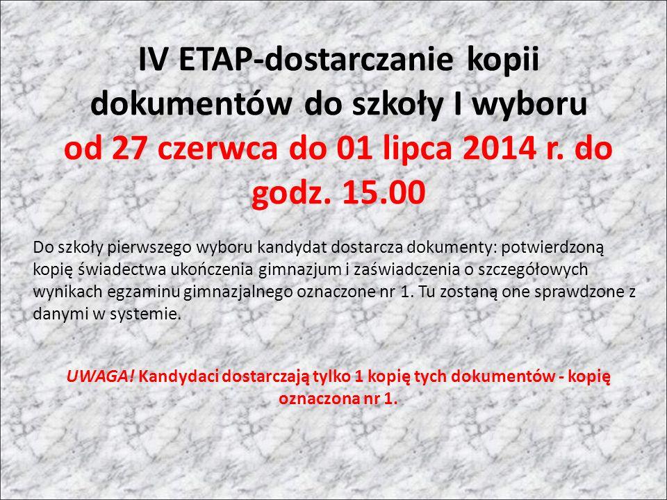 IV ETAP-dostarczanie kopii dokumentów do szkoły I wyboru od 27 czerwca do 01 lipca 2014 r.