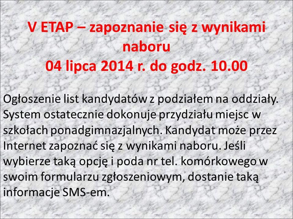 V ETAP – zapoznanie się z wynikami naboru 04 lipca 2014 r.