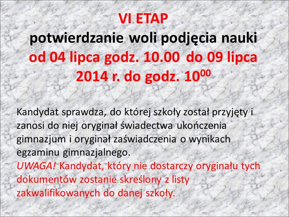 VI ETAP potwierdzanie woli podjęcia nauki od 04 lipca godz.