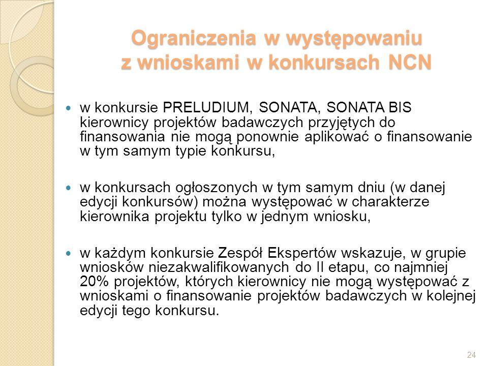 Ograniczenia w występowaniu z wnioskami w konkursach NCN w konkursie PRELUDIUM, SONATA, SONATA BIS kierownicy projektów badawczych przyjętych do finansowania nie mogą ponownie aplikować o finansowanie w tym samym typie konkursu, w konkursach ogłoszonych w tym samym dniu (w danej edycji konkursów) można występować w charakterze kierownika projektu tylko w jednym wniosku, w każdym konkursie Zespół Ekspertów wskazuje, w grupie wniosków niezakwalifikowanych do II etapu, co najmniej 20% projektów, których kierownicy nie mogą występować z wnioskami o finansowanie projektów badawczych w kolejnej edycji tego konkursu.