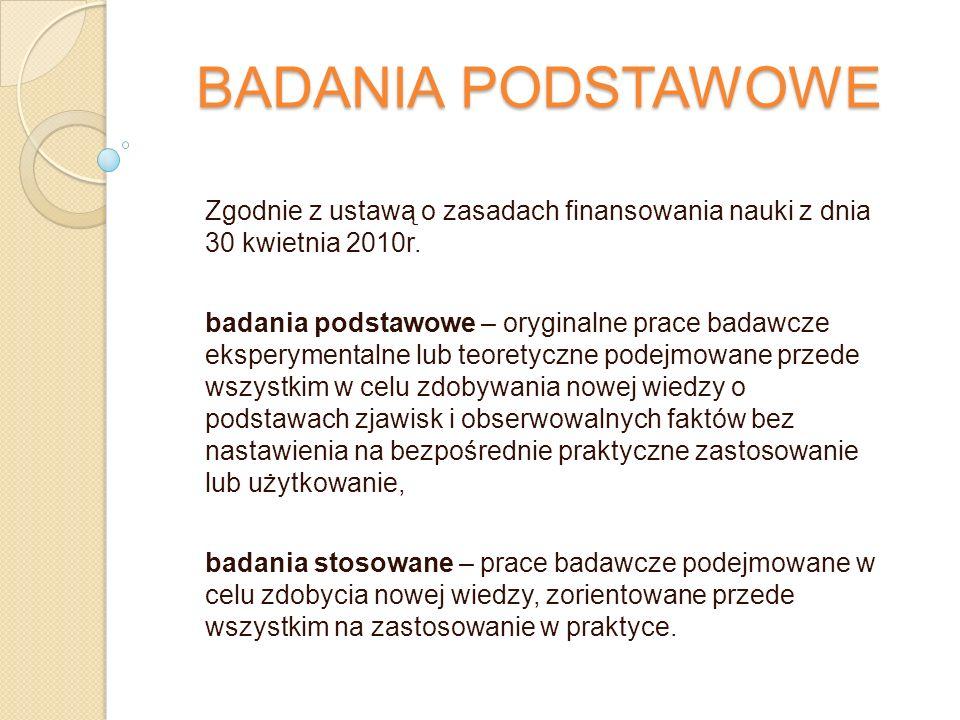 BADANIA PODSTAWOWE Zgodnie z ustawą o zasadach finansowania nauki z dnia 30 kwietnia 2010r.