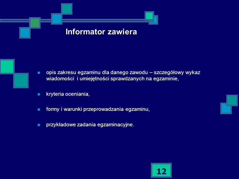 12 Informator zawiera opis zakresu egzaminu dla danego zawodu – szczegółowy wykaz wiadomości i umiejętności sprawdzanych na egzaminie, kryteria ocenia