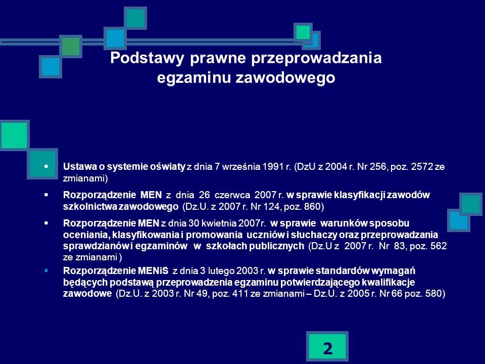 2 Podstawy prawne przeprowadzania egzaminu zawodowego Ustawa o systemie oświaty z dnia 7 września 1991 r. (DzU z 2004 r. Nr 256, poz. 2572 ze zmianami