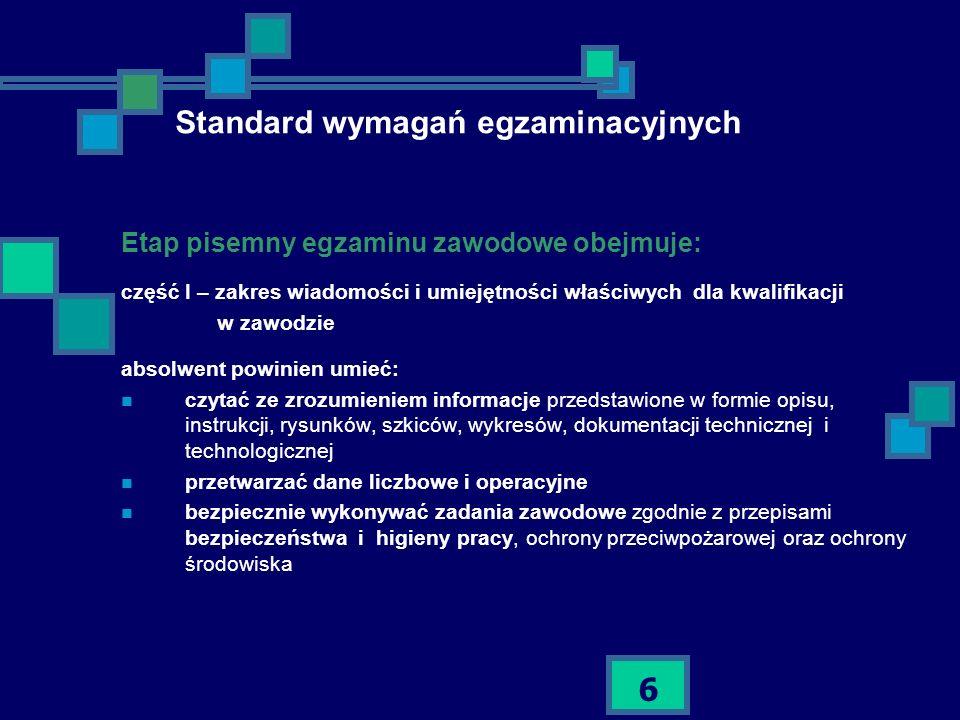 6 Standard wymagań egzaminacyjnych Etap pisemny egzaminu zawodowe obejmuje: część I – zakres wiadomości i umiejętności właściwych dla kwalifikacji w z