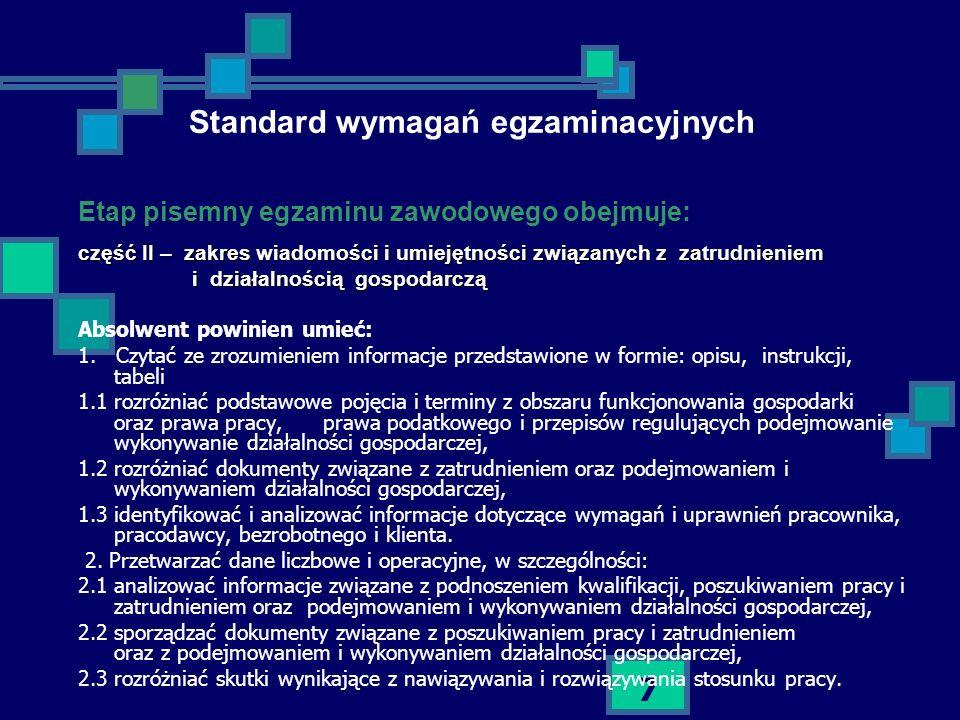 7 Standard wymagań egzaminacyjnych Etap pisemny egzaminu zawodowego obejmuje: część II – zakres wiadomości i umiejętności związanych z zatrudnieniem i