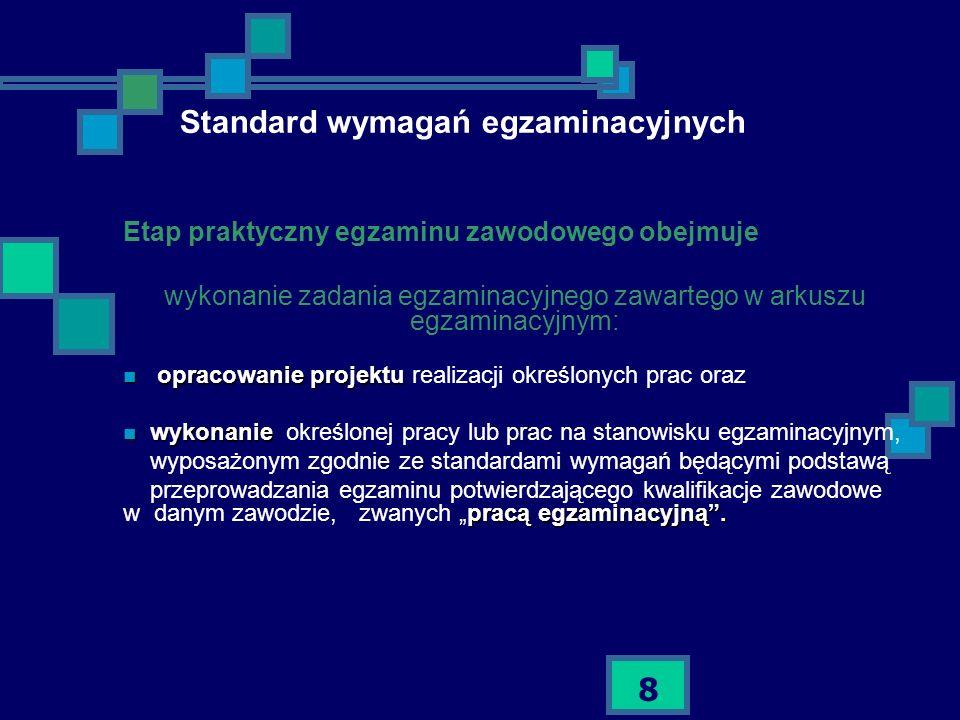 8 Standard wymagań egzaminacyjnych Etap praktyczny egzaminu zawodowego obejmuje wykonanie zadania egzaminacyjnego zawartego w arkuszu egzaminacyjnym: