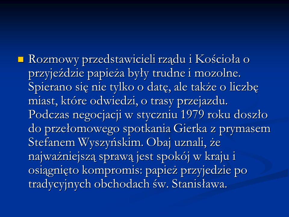 Trasa : 31 maja - Wrocław (przylot) 31 maja - Wrocław (przylot) 2 czerwca - Gorzów Wielkopolski, Legnica 2 czerwca - Gorzów Wielkopolski, Legnica 3 czerwca - Gniezno, Poznań 3 czerwca - Gniezno, Poznań 4 czerwca - Kalisz, Częstochowa 4 czerwca - Kalisz, Częstochowa 5 - 7 czerwca - Zakopane 5 - 7 czerwca - Zakopane 7 czerwca - Ludźmierz 7 czerwca - Ludźmierz 7 - 8 czerwca - Kraków 7 - 8 czerwca - Kraków 10 czerwca - Krosno, Kraków-(pożegnanie) 10 czerwca - Krosno, Kraków-(pożegnanie)