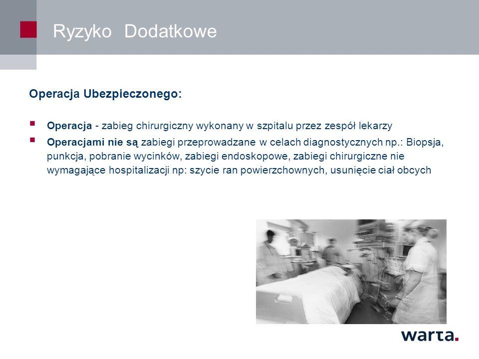 Ryzyko Dodatkowe Operacja Ubezpieczonego: Operacja - zabieg chirurgiczny wykonany w szpitalu przez zespół lekarzy Operacjami nie są zabiegi przeprowadzane w celach diagnostycznych np.: Biopsja, punkcja, pobranie wycinków, zabiegi endoskopowe, zabiegi chirurgiczne nie wymagające hospitalizacji np: szycie ran powierzchownych, usunięcie ciał obcych