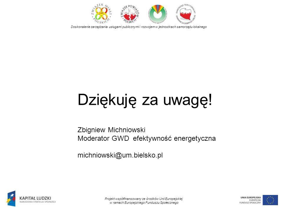 Doskonalenie zarządzania usługami publicznymi i rozwojem w jednostkach samorządu lokalnego Projekt współfinansowany ze środków Unii Europejskiej w ramach Europejskiego Funduszu Społecznego Dziękuję za uwagę.