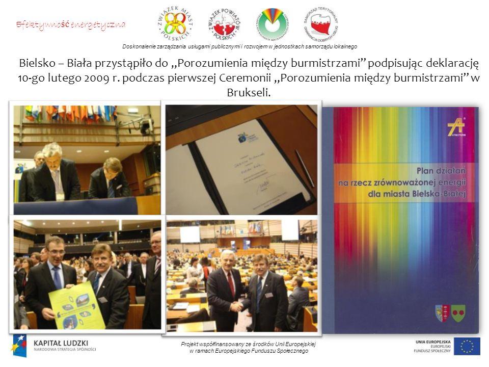 Doskonalenie zarządzania usługami publicznymi i rozwojem w jednostkach samorządu lokalnego Projekt współfinansowany ze środków Unii Europejskiej w ramach Europejskiego Funduszu Społecznego Bielsko – Biała przystąpiło do Porozumienia między burmistrzami podpisując deklarację 10-go lutego 2009 r.