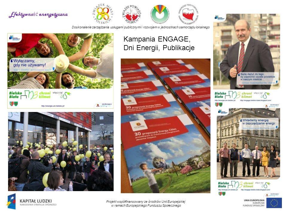 Doskonalenie zarządzania usługami publicznymi i rozwojem w jednostkach samorządu lokalnego Projekt współfinansowany ze środków Unii Europejskiej w ramach Europejskiego Funduszu Społecznego Kampania ENGAGE, Dni Energii, Publikacje Efektywno ść energetyczna