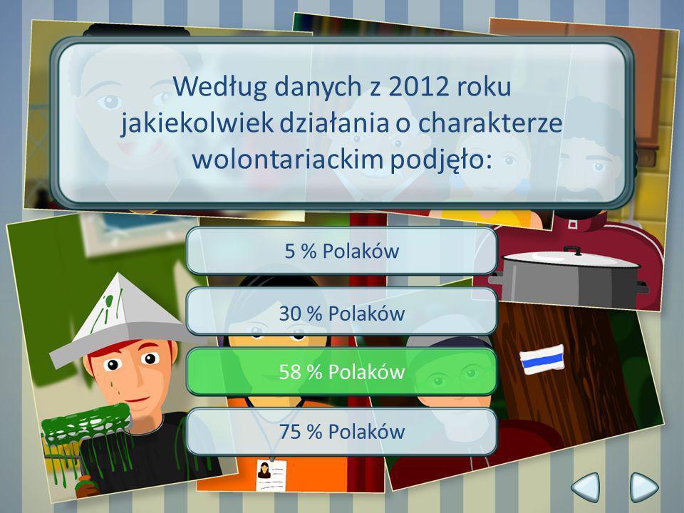 5 % Polaków 30 % Polaków 58 % Polaków 75 % Polaków Według danych z 2012 roku jakiekolwiek działania o charakterze wolontariackim podjęło: