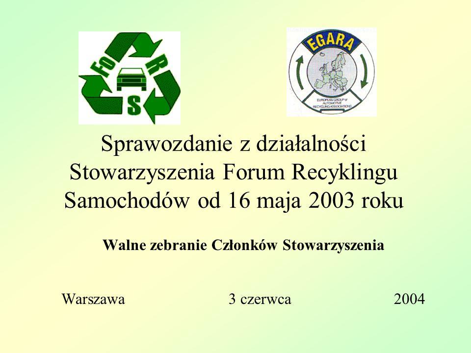 Sprawozdanie z działalności Stowarzyszenia Forum Recyklingu Samochodów od 16 maja 2003 roku Walne zebranie Członków Stowarzyszenia Warszawa 3 czerwca 2004