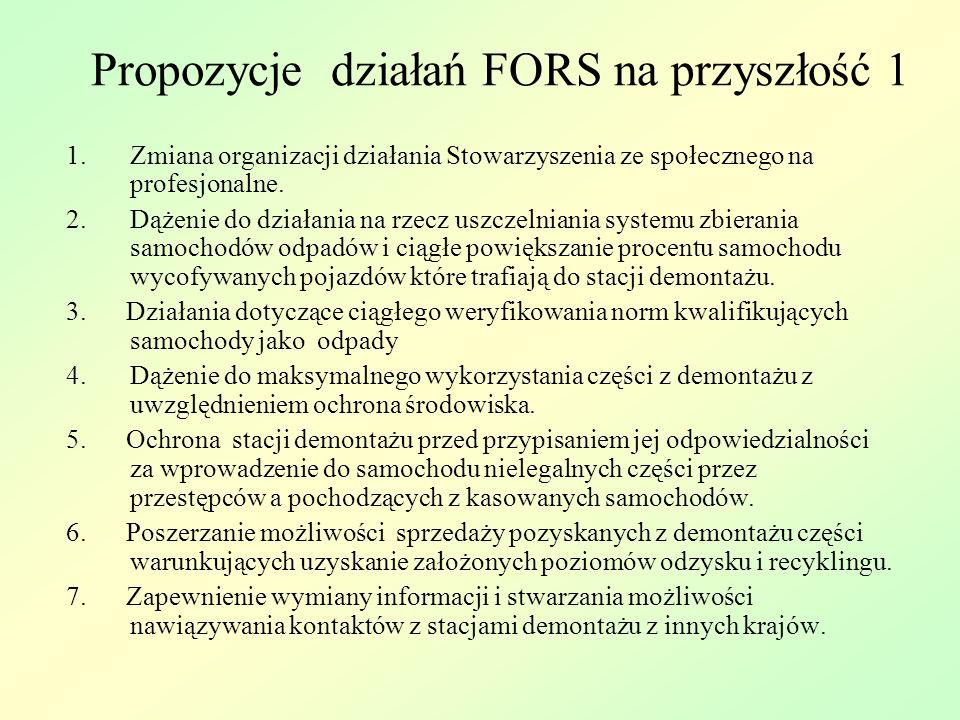 Propozycje działań FORS na przyszłość 1 1.Zmiana organizacji działania Stowarzyszenia ze społecznego na profesjonalne.