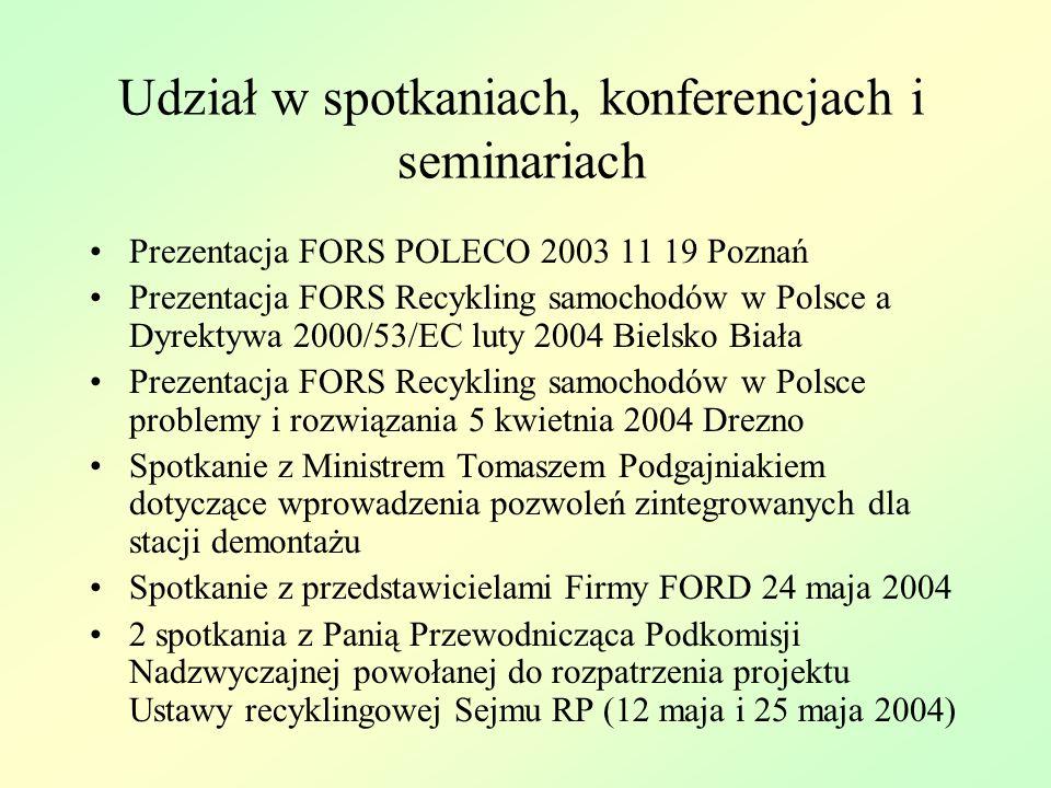 Udział w pracach legislacyjnych Udział w Posiedzeniu Komisji Ochrony Środowiska Zasobów Naturalnych i Leśnictwa Udział w posiedzeniach (razem około 20) Podkomisji Nadzwyczajnych do rozpatrzenia dwóch projektów ustawy dotyczących recyklingu pojazdów wycofanych z eksploatacji (rządowego-druk Sejmowy 1173 i poselskiego-druk sejmowy 2597) Opracowanie zapisów propozycji rozwiązania FORS oraz stanowisk do propozycji zgłaszanych przez innych