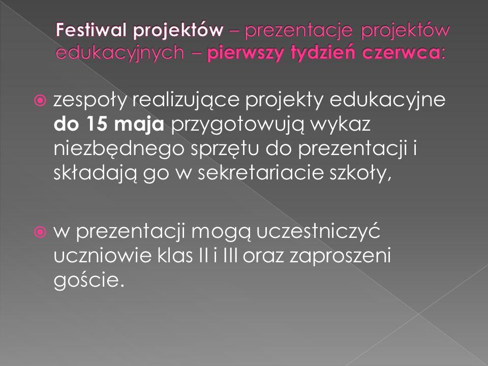 zespoły realizujące projekty edukacyjne do 15 maja przygotowują wykaz niezbędnego sprzętu do prezentacji i składają go w sekretariacie szkoły, w prezentacji mogą uczestniczyć uczniowie klas II i III oraz zaproszeni goście.