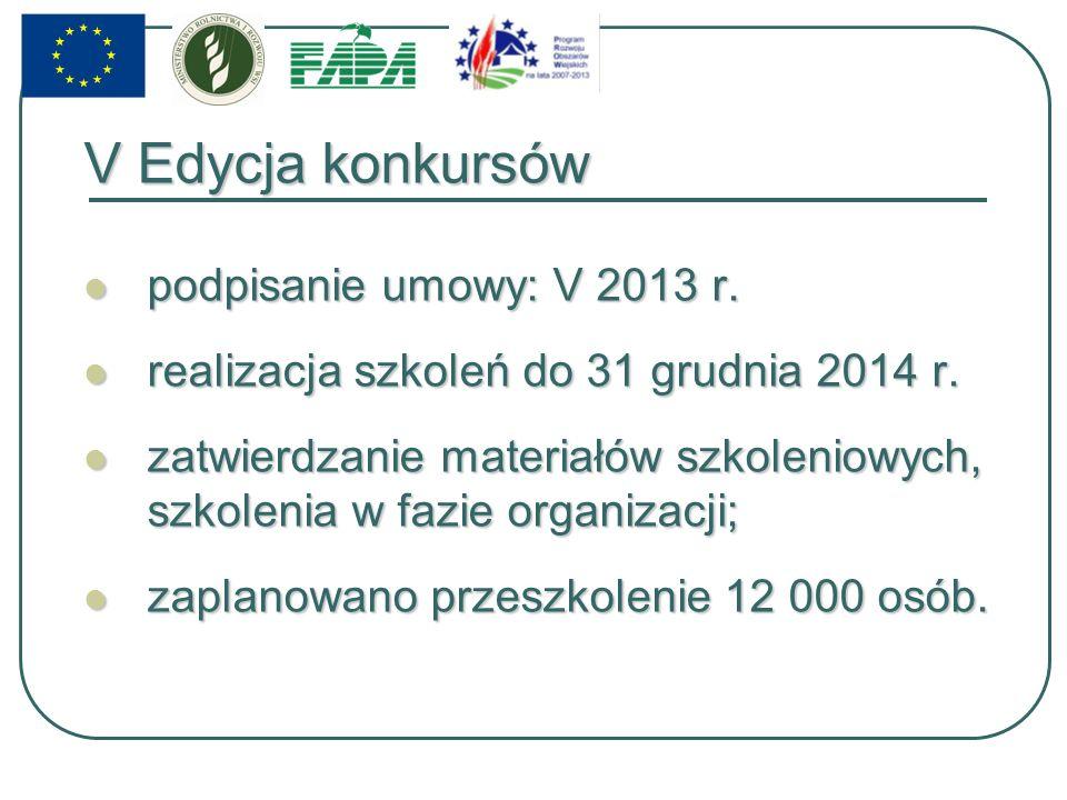 V Edycja konkursów podpisanie umowy: V 2013 r. podpisanie umowy: V 2013 r.