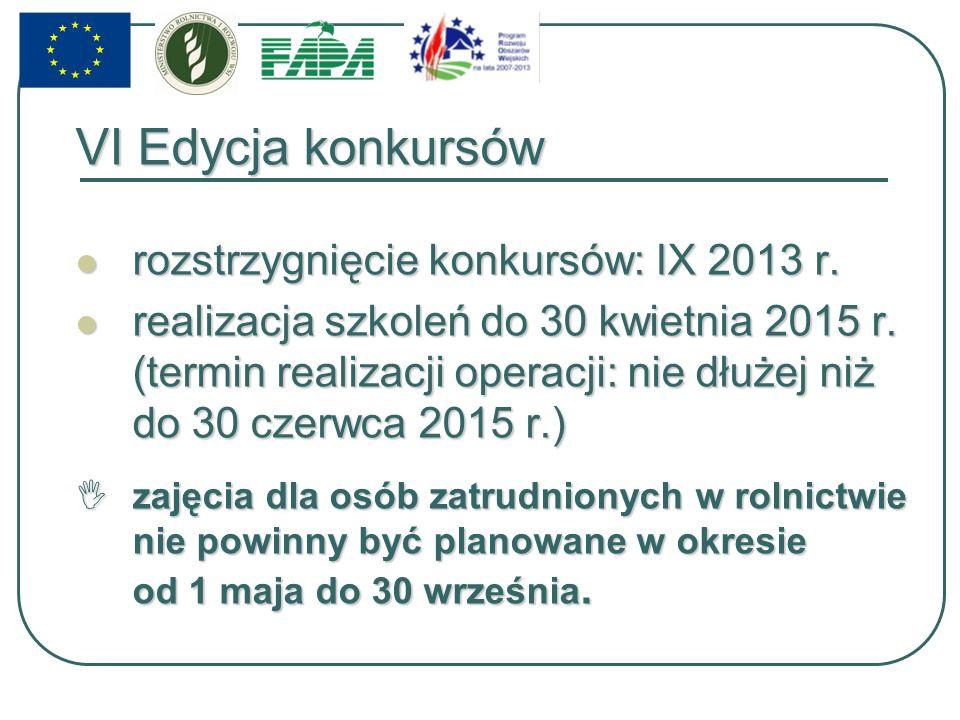 VI Edycja konkursów rozstrzygnięcie konkursów: IX 2013 r.
