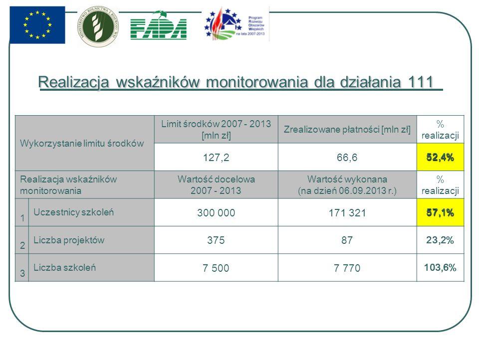 Realizacja wskaźników monitorowania dla działania 111 Wykorzystanie limitu środków Limit środków 2007 - 2013 [mln zł] Zrealizowane płatności [mln zł] % realizacji 127,266,652,4% Realizacja wskaźników monitorowania Wartość docelowa 2007 - 2013 Wartość wykonana (na dzień 06.09.2013 r.) % realizacji 1 Uczestnicy szkoleń 300 000171 32157,1% 2 Liczba projektów 37587 23,2% 3 Liczba szkoleń 7 5007 770 103,6%