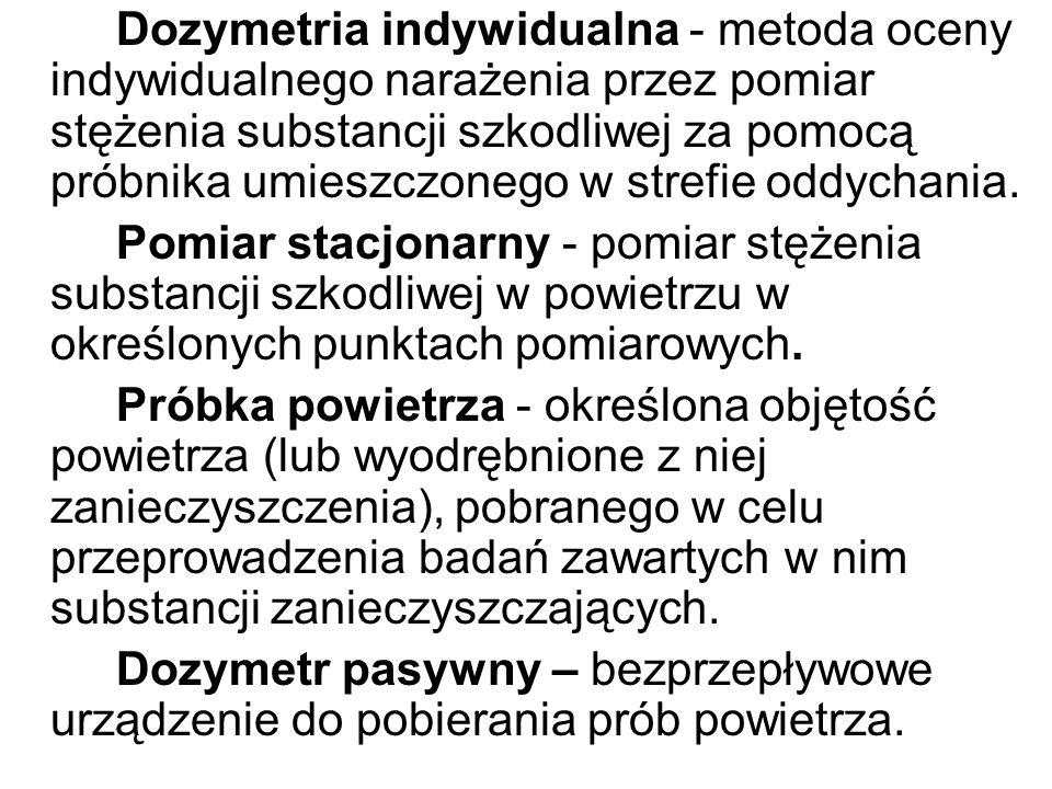Dozymetria indywidualna - metoda oceny indywidualnego narażenia przez pomiar stężenia substancji szkodliwej za pomocą próbnika umieszczonego w strefie