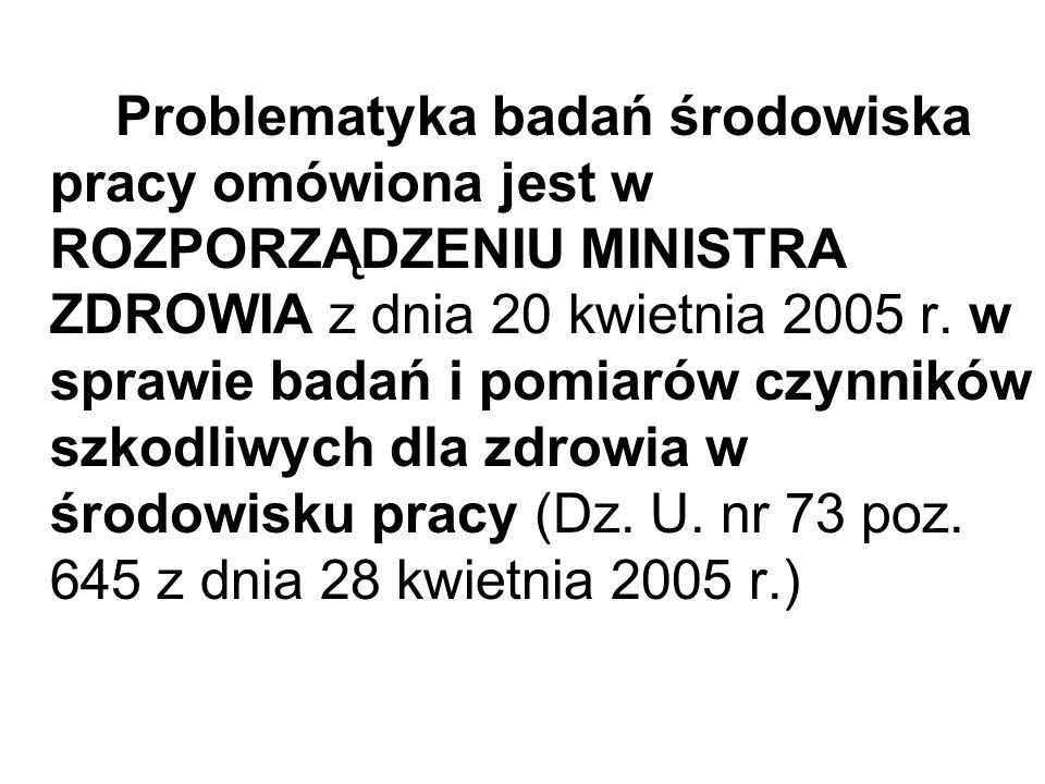 Problematyka badań środowiska pracy omówiona jest w ROZPORZĄDZENIU MINISTRA ZDROWIA z dnia 20 kwietnia 2005 r. w sprawie badań i pomiarów czynników sz