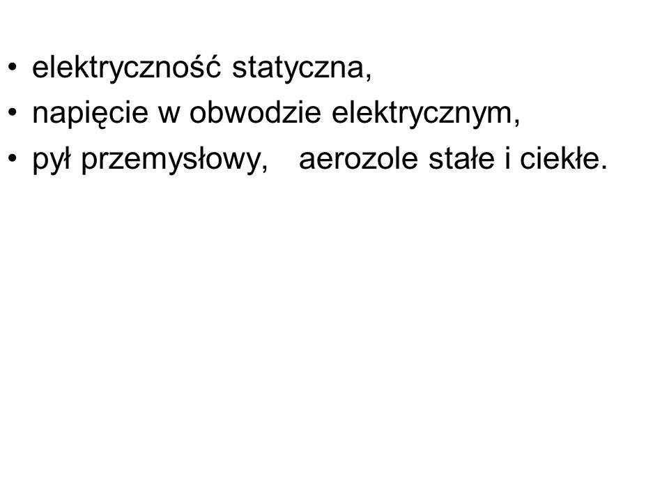 elektryczność statyczna, napięcie w obwodzie elektrycznym, pył przemysłowy, aerozole stałe i ciekłe.