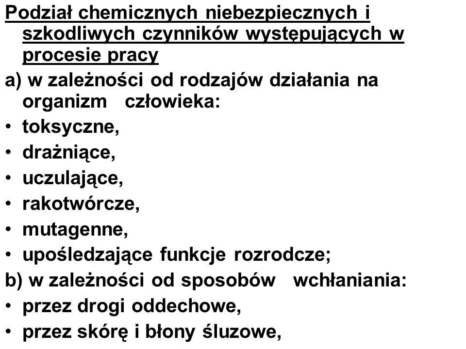 Podział chemicznych niebezpiecznych i szkodliwych czynników występujących w procesie pracy a) w zależności od rodzajów działania na organizm człowieka