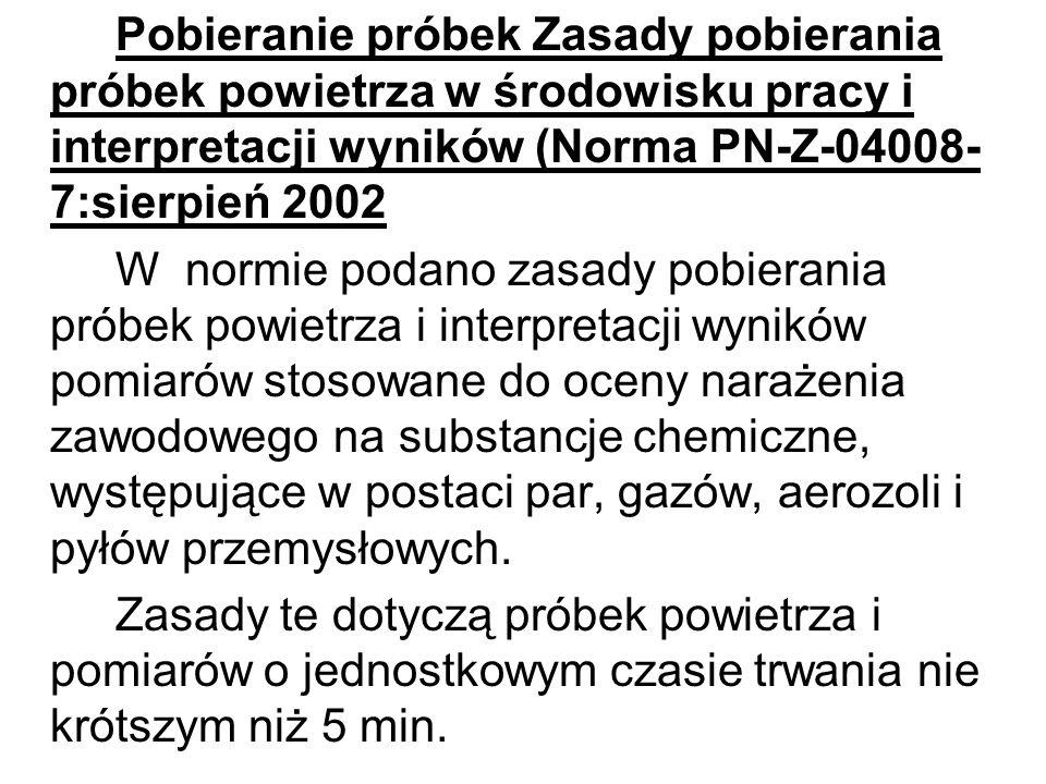 Pobieranie próbek Zasady pobierania próbek powietrza w środowisku pracy i interpretacji wyników (Norma PN-Z-04008- 7:sierpień 2002 W normie podano zas