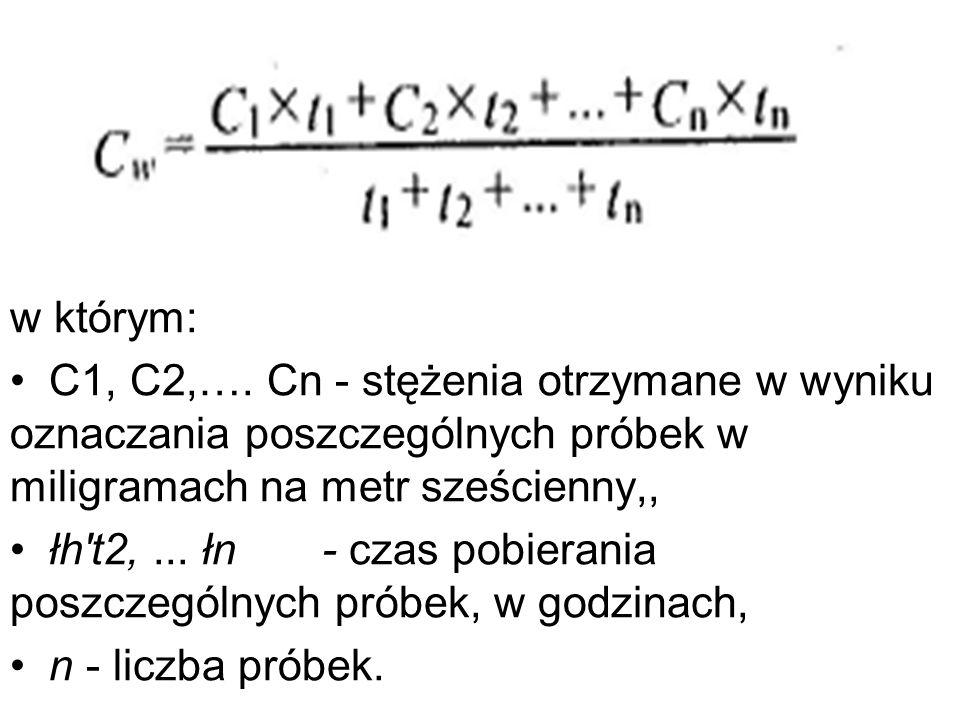 w którym: C1, C2,…. Cn - stężenia otrzymane w wyniku oznaczania poszczególnych próbek w miligramach na metr sześcienny,, łh't2,... łn - czas pobierani