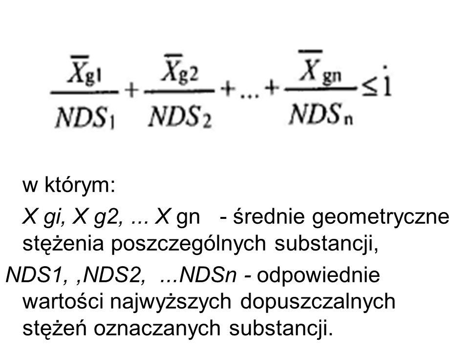 w którym: X gi, X g2,... X gn - średnie geometryczne stężenia poszczególnych substancji, NDS1,,NDS2,...NDSn - odpowiednie wartości najwyższych dopuszc