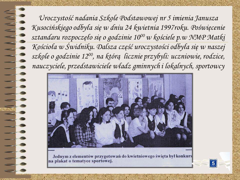 Prace nad nadaniem imienia naszej szkoły rozpoczęto w czerwcu 1995 roku. Na posiedzeniu Rady Pedagogicznej poruszono sprawę plebiscytu. Zgłoszono nast