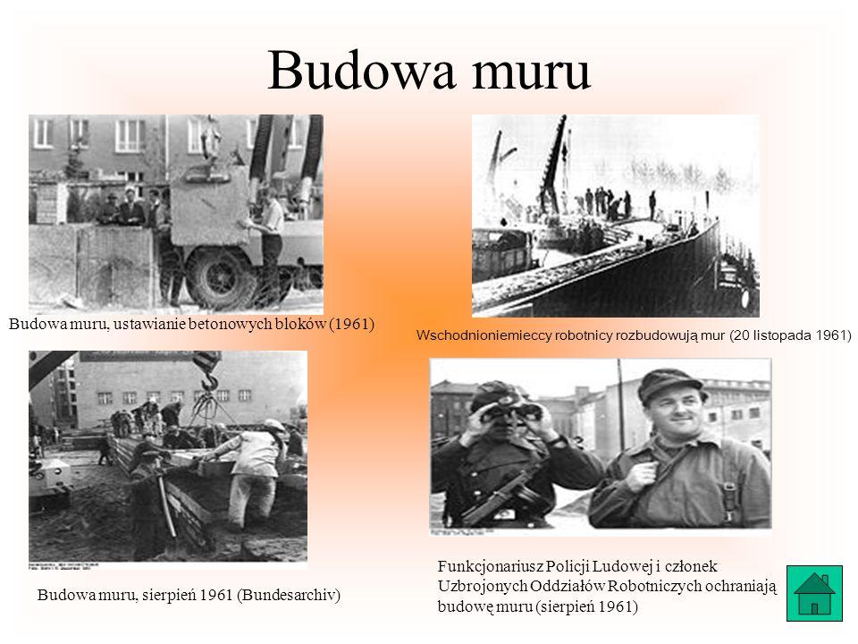 Budowa muru Budowa muru, ustawianie betonowych bloków (1961) Wschodnioniemieccy robotnicy rozbudowują mur (20 listopada 1961) Budowa muru, sierpień 19