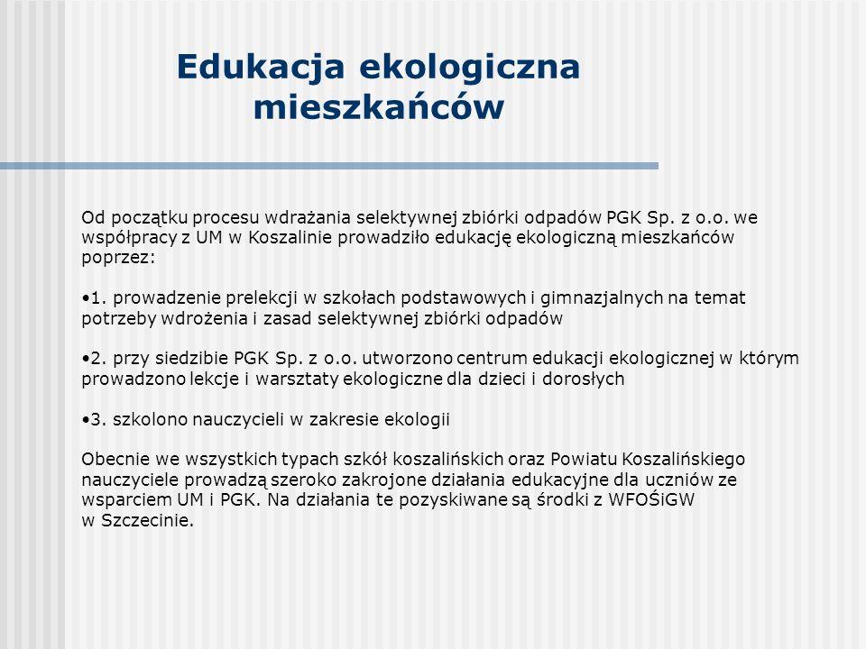 Edukacja ekologiczna mieszkańców Od początku procesu wdrażania selektywnej zbiórki odpadów PGK Sp.