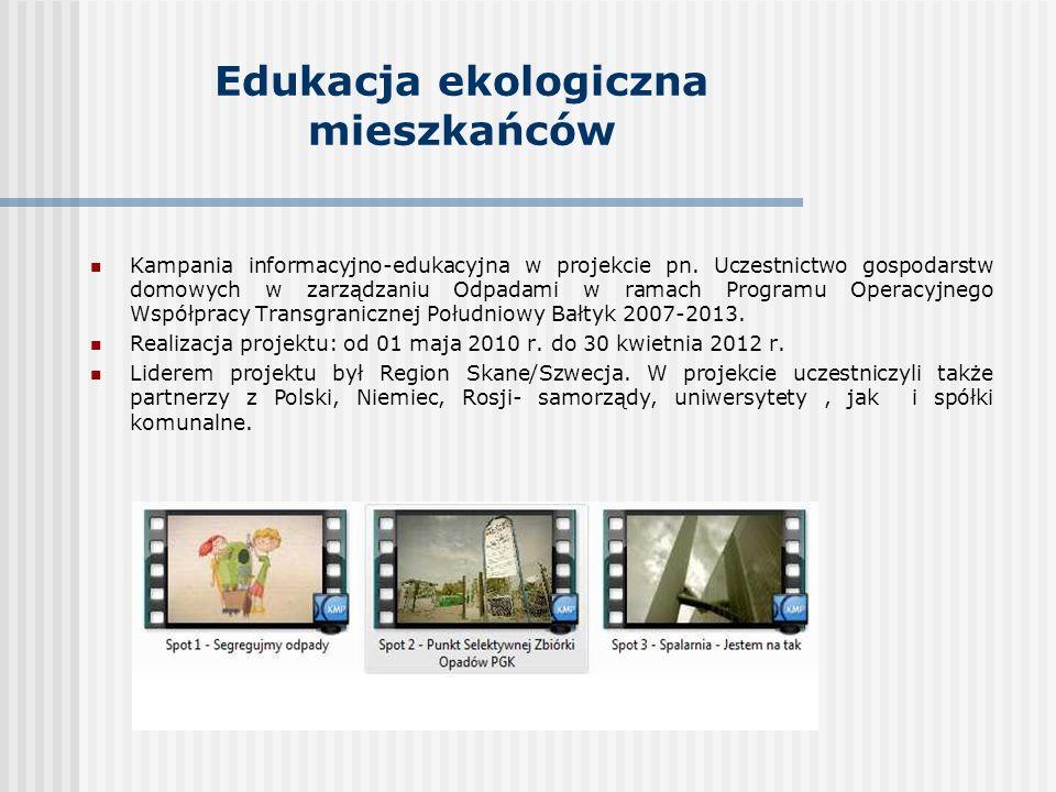 Edukacja ekologiczna mieszkańców Kampania informacyjno-edukacyjna w projekcie pn.