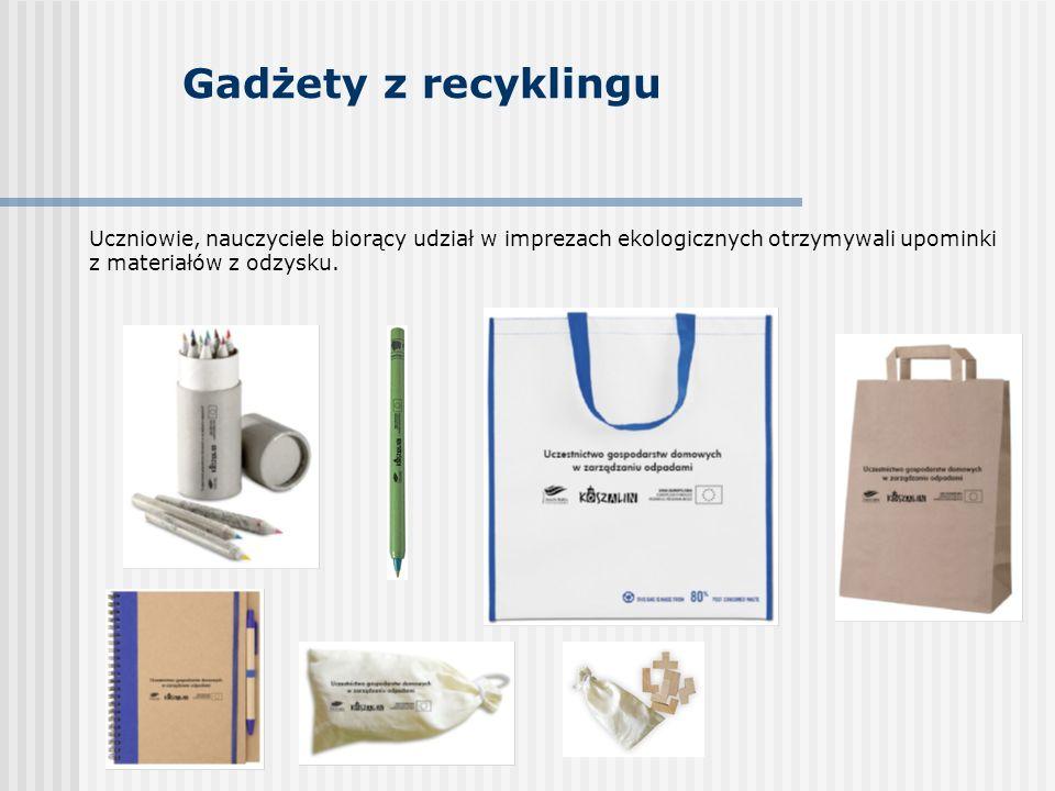 Gadżety z recyklingu Uczniowie, nauczyciele biorący udział w imprezach ekologicznych otrzymywali upominki z materiałów z odzysku.