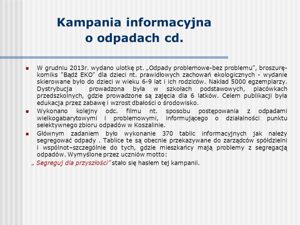 Kampania informacyjna o odpadach cd.W grudniu 2013r.